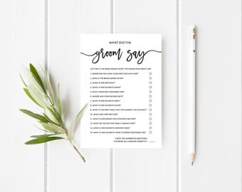 """What Did the Groom Say Game   Editable   Printable Wedding Shower Game   Wedding Shower Template   Instant Download   5x7""""   No. EDN 5501"""
