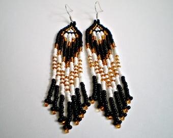 Long earrings with fringe Native American Earrings Long beaded Seed earrings Beautiful Boho Earrings Seed Bead Earrings Native American