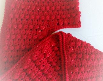 Popcor Stitch Hoded Crochet Scarf