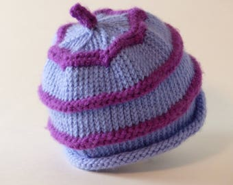 Purple Striped Baby Hat, 3-6 months