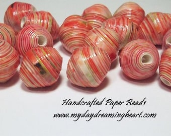 25 Loose Paper Beads Coral Yellow Green Spring Colors Oval Bicone Lot Jewelry Necklace Bracelet Craft Supplies Handmade Made In Maine