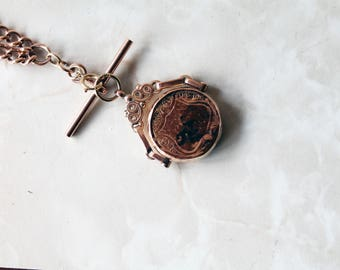 9ct 9k  Antique Rose Gold Double Albert Graduated Link Chain With Ornate Bloodstone Spinning Fob