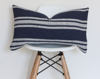 "12 x 20"" Light Blue Striped Pillow Cover"