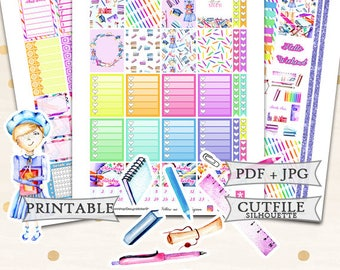 Back to school planner stickers for Erin Condren Lifeplanner/Printable Planner Stickers/Autumn Weekly kit/Printable Back to school