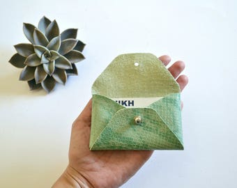 Mint green leather card holder / Green envelope card holder / Green leather business card case / Genuine leather