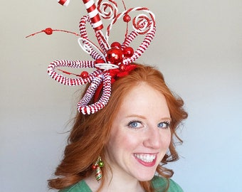 ugly sweater party headband, whoville headband, christmas headpiece fascinator, ugly christmas sweater for women, whoville costume hair piec
