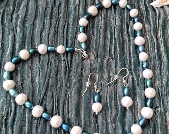 Pearl necklace earrings teal and white 925 sterling silver - Turquoise Waters