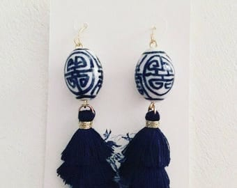 Chinoiserie NAVY Mini Stacked Tassel Earrings | blue and white, short, ginger jar, gold, dangle, lightweight, oval, dainty, tiered, layered