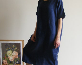 Melange Blue Oversize / loose fit / one size linen dress / linen tunic