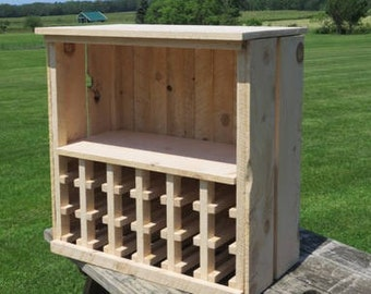 Wine and Liquor cabinet for Wedding Guests to sign. 18 Bottle rustic wine rack, unfinished, Custom Built, Made to Order, Guest Book