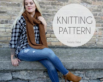 Knitting Pattern PDF / Triple Texture Scarf / Cozy Knit Scarf