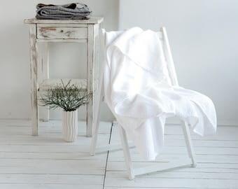 Linen Plaid Blanket Coverlet - White waffle Blanket - Throw Duplex Blanket -Summer Linen Blanket -Picnic Blanket - Beach Blanket -Soft Linen