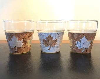 NEW!  Cork Maple Leaf Candle Holders, Set of 3 .     tealights, votives, candles, autumn, fall, leaves