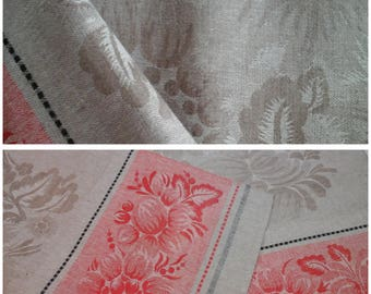 Jacquard Flax Linen Table Runner Easter Home Decor Dusty Rose Pink Grey Tablecloth Table Topper Gift Flax Linen Table Runner