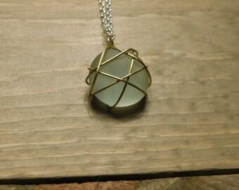 mint sea glass pendant wire wrapped sea glass necklace wire wrapped pendant mint sea glass sea glass jewelry sea glass beach wedding gifts