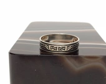 Tribal Design Ring, Sterling Silver Size 7