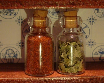 miniature dollhouse collectible glass spice jars with real spices and cork stopper dollhouse kitchen accessories