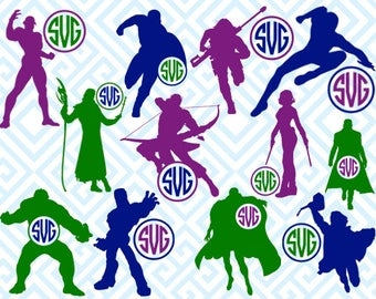 Avengers Monogram, Digital Cutting Files, Svg Files for Silhouette, Cricut, Marvel SVG, Monogram Frame, Kids Monogram, 28luna