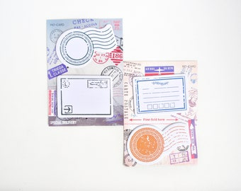 Vintage Passport Stamps Sticky Notes, Post It - PJ313