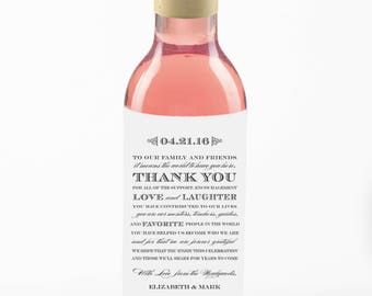 Mini Wine Labels Wedding Favors//Thank you