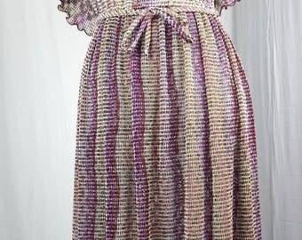 Vintage Peasant Dress Off Shoulder Long Tall Mesh Sheer Earthy Hippie Boho Union Made