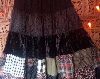 Velvet patchwork hippie skirt american western vibe