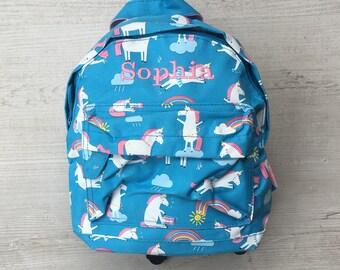 Personalised Kids Magical Unicorn Mini Backpack - Custom Girls Children's School Bag - Embroidered Name
