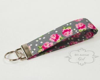 Key fob, keychain, wristlet keychain, key strap, fabric key fob, gray fabric with pink roses***Ready-to-ship***