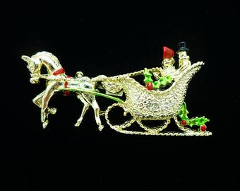 SIGNED Gerry's Horse and Sleigh Brooch, Christmas Pins, Vintage Brooch, Holiday Jewelry, Christmas Brooch, Antique Brooches