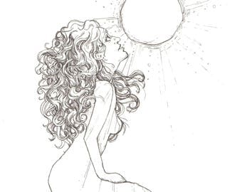 Soulshine Ink Drawing Quality A4 Print Feminist Female Portrait Illustration Sun Universe Positivity