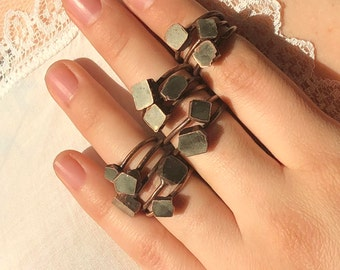Faceted Pyrite Ring | Raw Pyrite Ring | Stacking Pyrite Ring | Electroformed | Fools Gold Jewelry | Healing Jewelry l Copper Ring I Pyrite