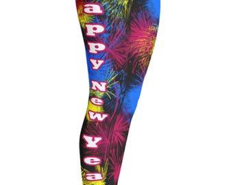 Happy New Year Leggings - Party Leggings - 2018 Leggings - New Years Leggings - New Year Firework Leggings - Christmas Gift