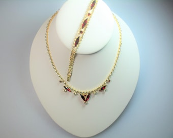 Vintage Gold Tone Prong Set Ruby Red and Clear Rhinestone Necklace and Matching Bracelet Set