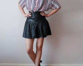 vintage 80's Genuine leather tiered layered ruched mini skirt small