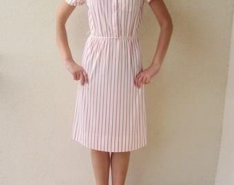 vintage 70s LANVIN striped white & red secretary day dress S M