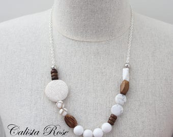 White Gemstone necklace White marble necklace Quirky Necklace Asymmetrical Necklace Mummy and Daughter necklace - Winter Wonderland