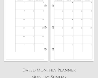 "Dated Monthly Calendar Planner Inserts, 2017 and 2018 MO2P, Monday-Sunday Layout ~ Half Letter / 5.5"" x 8.5"" / Mini 3-Ring (3RM-MMS)"