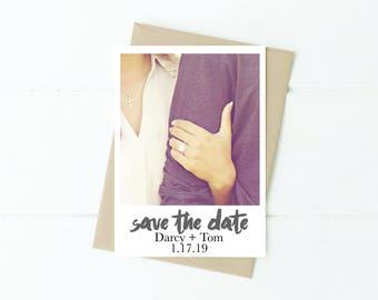 Custom Polaroid Save-the-Date with photo, Polaroid Save the Date Invitation Digital Download, DIY Wedding Engagement, PDF Digital Download