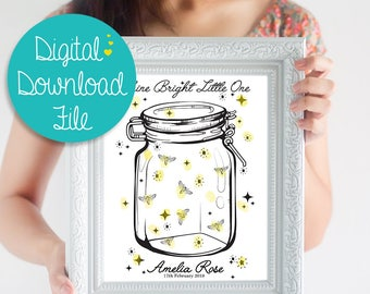 DIGITAL DOWNLOAD Firefly Baby Shower Guest Book Alternative ~ Gender Neutral Baby Shower Decoration ~ New Baby Guest Book ~ Fingerprint ~