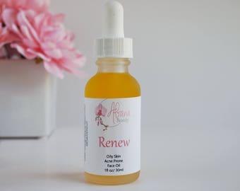 Renew Oil - Face Moisturizer - Acne - Serum - Facial Serum - Vegan - Face Oil - Moisturizers - Back To School