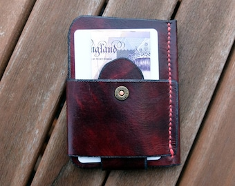 Minimalist wallet, mahogany wallet, front pocket wallet, leather wallet, card wallet, slim wallet, hand-stitched, hand-dyed, EDC wallet