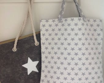 SALE: Firm cotton bag with little grey stars