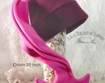 Mermaid Tail Hat, Child, Daughter, Fleece, Mermaid, Winter Hat, Mermaid Tail, Mermaid's Helper, Valentine Gift Beanie, Maroon, Pink, Elf