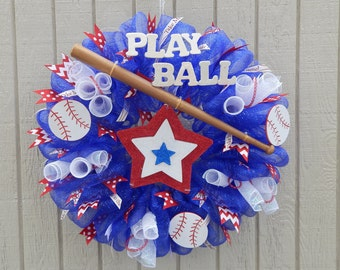 Baseball Wreath, Summer Mesh Wreath, Summer wreath Spring Wreath