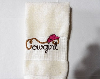 Cowgirl with Hat Guest Towel