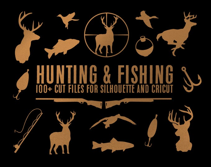 Featured listing image: hunting deer duck fishing bundle silhouette svg dxf file instant download silhouette cameo cricut clip art commercial use