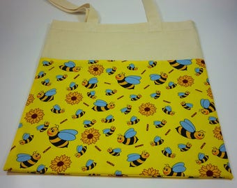 Bee fabric tote bag