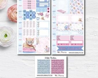 PERSONAL MINI KIT | Bookworm Kit | Matte or Glossy Vinyl Sticker | Personal Planner Sticker Kit | Erin Condren Mini Kit | Reading Kit | Cat
