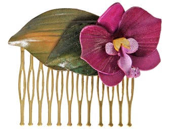 Hair comb flower orchid flower with cowhide leather