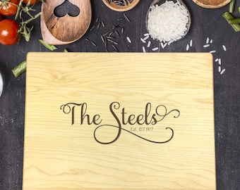 New Home Gift, Personalized Cutting Board, Gift for Couple, Gift for Her, Gift for Him, Wedding Gift, Last Name Gift, B-0030 Rec
